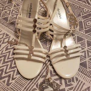 White Strappy Wedges